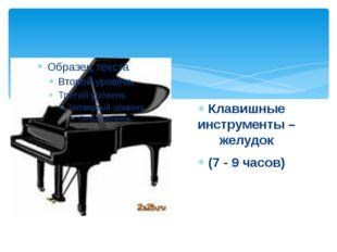 Клавишные инструменты – желудок (7 - 9 часов)