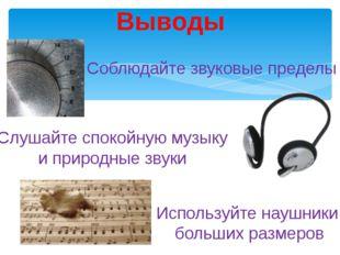 Выводы Соблюдайте звуковые пределы Слушайте спокойную музыку и природные звук