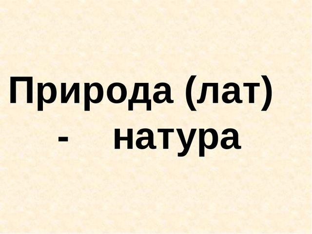 Природа (лат) - натура