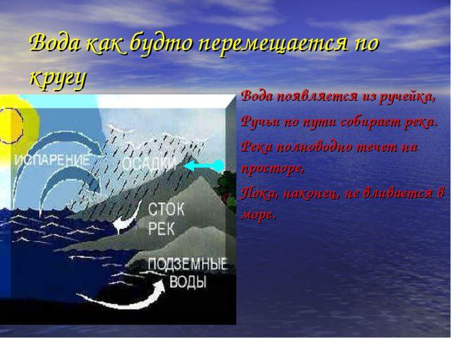 Вода как будто перемещается по кругу Вода появляется из ручейка, Ручьи по п...