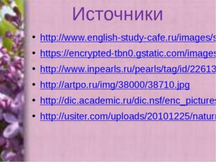 Источники http://www.english-study-cafe.ru/images/shablonppt/lilac2.jpg https