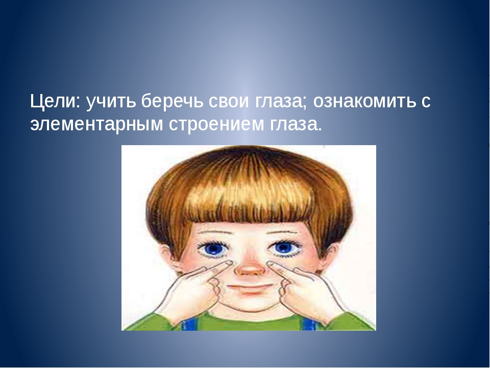 Цели: учить беречь свои глаза; ознакомить с элементарным строением глаза.