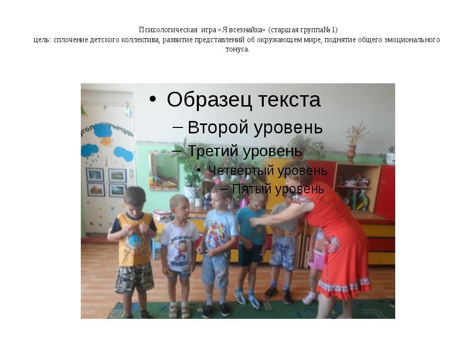 Психологическая игра «Я всезнайка» (старшая группа№1) цель: сплочение детског...