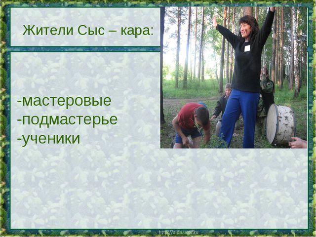 Жители Сыс – кара: -мастеровые -подмастерье -ученики