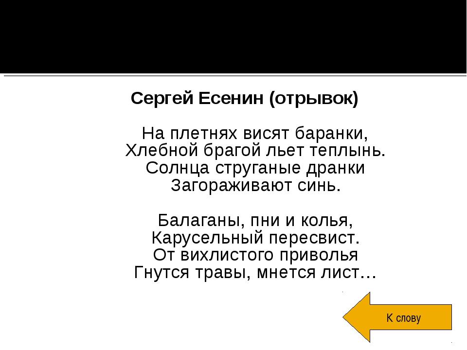 Сергей Есенин (отрывок) На плетнях висят баранки, Хлебной брагой льет теплынь...