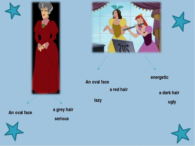 energetic serious lazy ugly a dark hair a red hair a grey hair An oval fa...