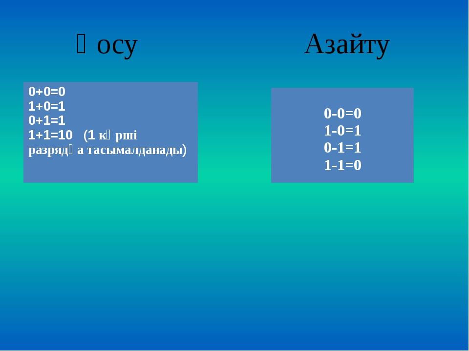 Қосу Азайту 0+0=0 1+0=1 0+1=1 1+1=10(1көрші разрядқа тасымалданады) 0-0=0 1-...