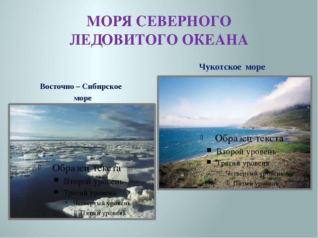 МОРЯ СЕВЕРНОГО ЛЕДОВИТОГО ОКЕАНА Восточно – Сибирское море Чукотское море