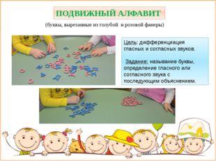 ПОДВИЖНЫЙ АЛФАВИТ (буквы, вырезанные из голубой и розовой фанеры) Цель: дифф