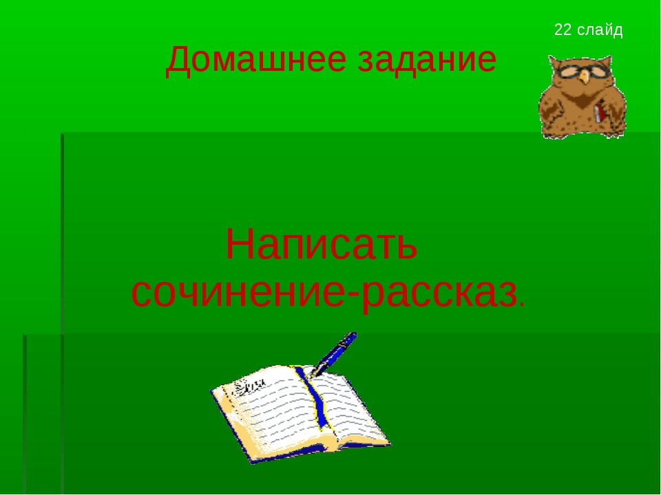Домашнее задание Написать сочинение-рассказ. 22 слайд