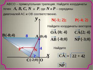 x y O A C B 8 2 4 ABCО – прямоугольная трапеция. Найдите координаты точек A,