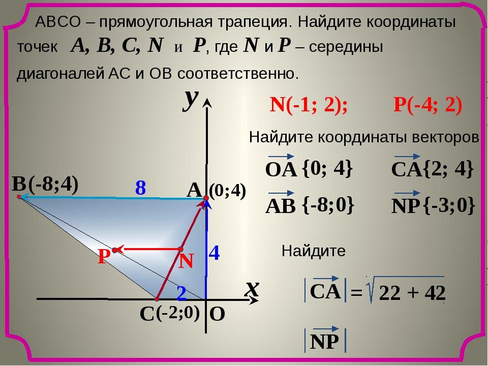 x y O A C B 8 2 4 ABCО – прямоугольная трапеция. Найдите координаты точек A,...