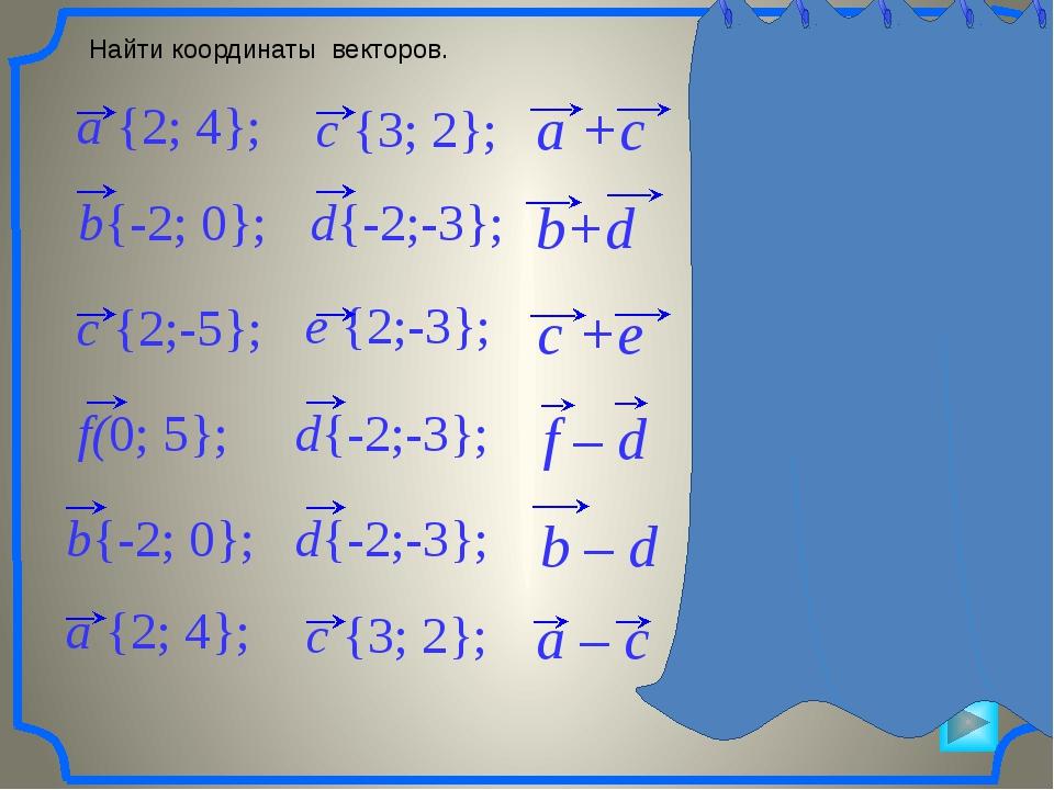 Найти координаты векторов. a +c {5; 6} a – c {-1; 2} b+d {-4; -3} c +e {4; -...