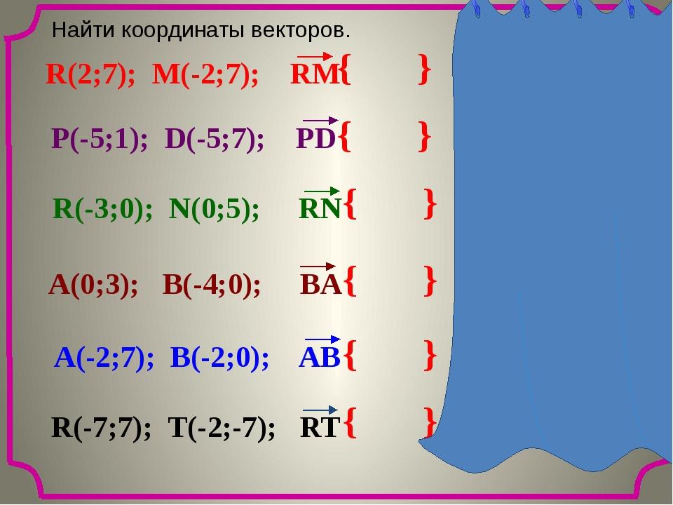 { } {-4; 0} Найти координаты векторов. { } {0; 6} { } { 3; 5} { } {-4; -3} {...