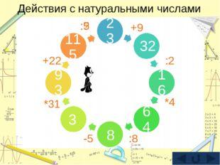 Действия с натуральными числами 23 32 16 64 93 1 115 3 8 +9 :2 *4 :8 -5 *31 +