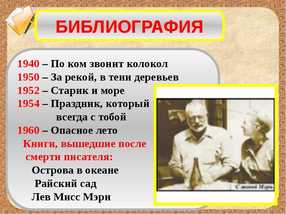 БИБЛИОГРАФИЯ 1940 – По ком звонит колокол 1950 – За рекой, в тени деревьев 19...