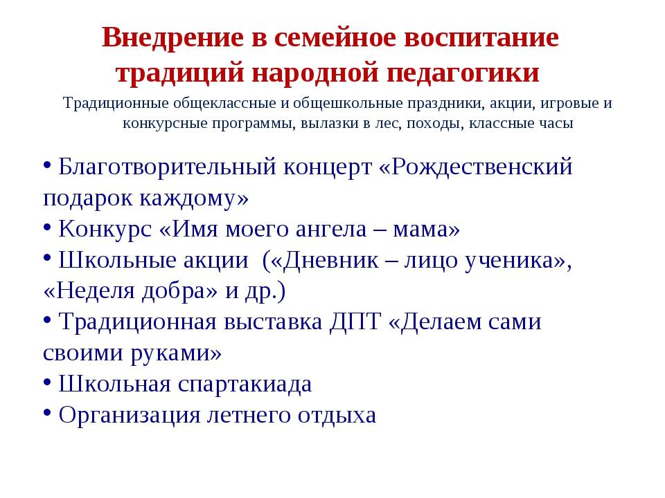 Внедрение в семейное воспитание традиций народной педагогики Традиционные общ...