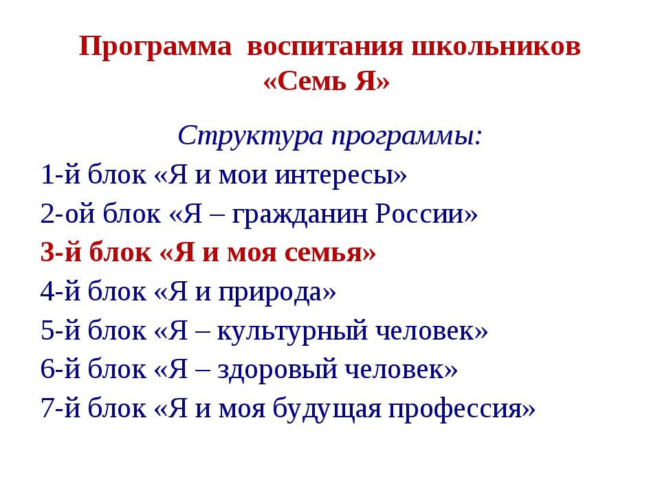 Структура программы: 1-й блок «Я и мои интересы» 2-ой блок «Я – гражданин Рос...