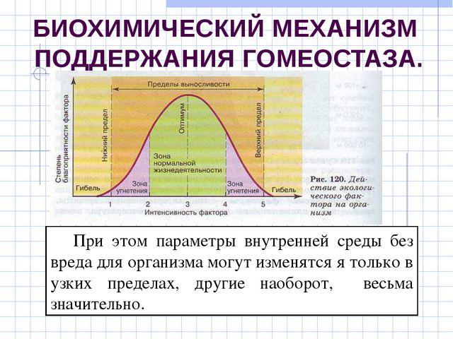 БИОХИМИЧЕСКИЙ МЕХАНИЗМ ПОДДЕРЖАНИЯ ГОМЕОСТАЗА. При этом параметры внутренней...