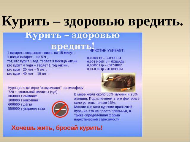 Курить – здоровью вредить.