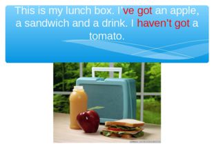 This is my lunch box. I've got an apple, a sandwich and a drink. I haven't go