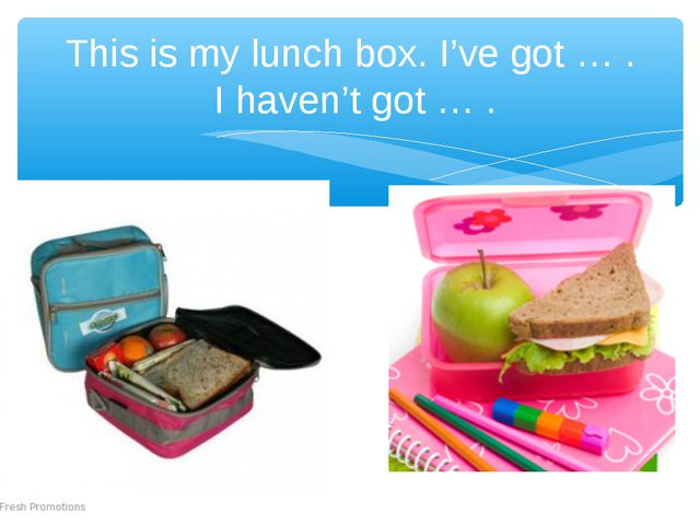 This is my lunch box. I've got … . I haven't got … .