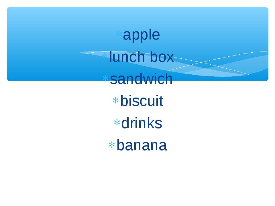 apple lunch box sandwich biscuit drinks banana
