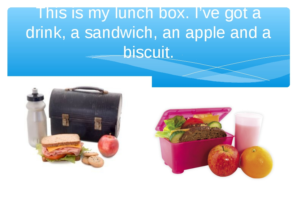 This is my lunch box. I've got a drink, a sandwich, an apple and a biscuit.