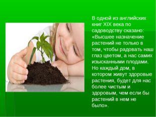 В одной из английских книг XIX века по садоводству сказано: «Высшее назначени