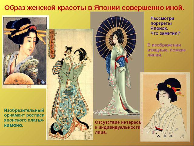 Образ женской красоты в Японии совершенно иной. Рассмотри портреты Японок. Чт...