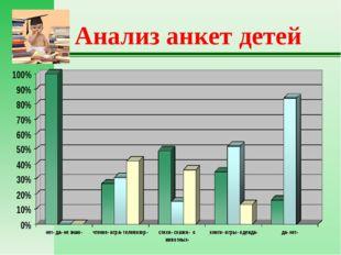 Анализ анкет детей