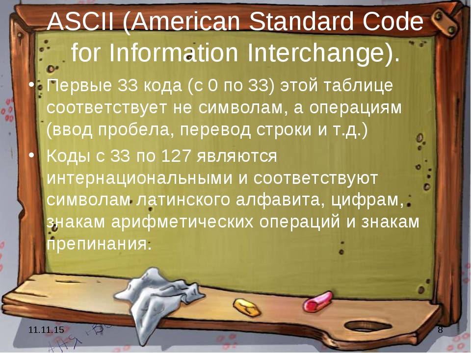 * * ASCII (American Standard Code for Information Interchange). Первые 33 код...