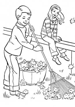 Раскраска Мальчик убирает листья
