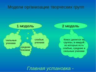 Модели организации творческих групп 1 модель 2 модель Главная установка - У С