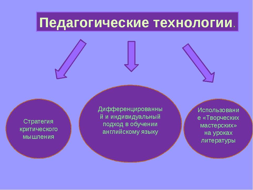 Педагогические технологии. Стратегия критического мышления Дифференцированный...