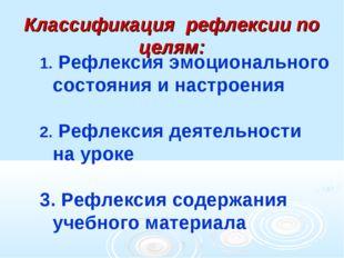 Классификация рефлексии по целям: Рефлексия эмоционального состояния и настро