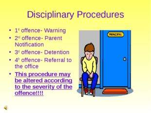 Disciplinary Procedures 1st offence- Warning 2nd offence- Parent Notification