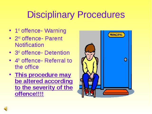 Disciplinary Procedures 1st offence- Warning 2nd offence- Parent Notification...