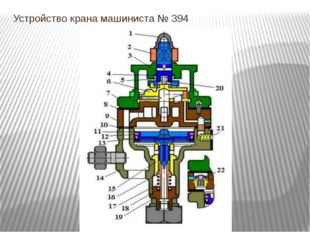 Устройство крана машиниста № 394