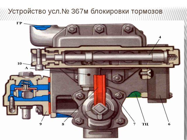 Устройство усл.№ 367м блокировки тормозов