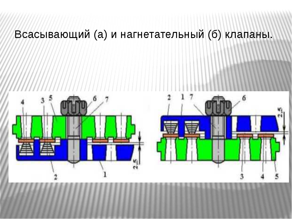 Всасывающий (а) и нагнетательный (б) клапаны.
