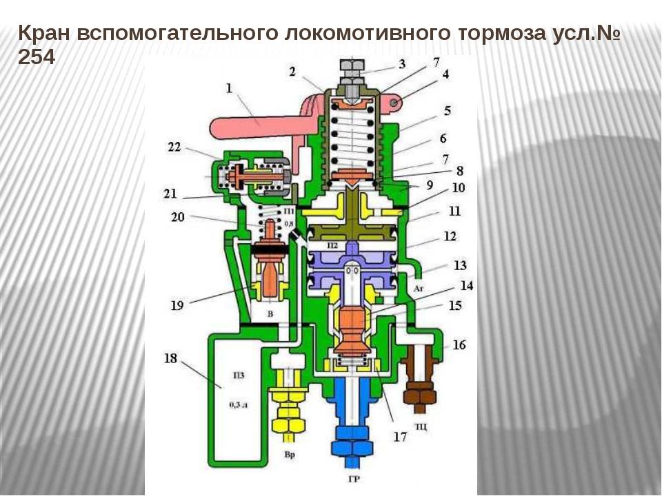 Кран вспомогательного локомотивного тормоза усл.№ 254