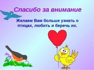 Спасибо за внимание Желаем Вам больше узнать о птицах, любить и беречь их.
