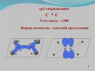 . δ sp2-гибридизация Угол связи – 1200 Форма молекулы – плоский треугольник C
