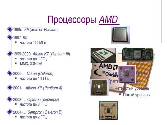 Процессоры AMD 1995. K5 (аналог Pentium) 1997. K6 частота 450 МГц 1999-2000....