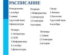 Понедельник: алгебра химия русский язык физкультура РАСПИСАНИЕ Четверг: Литер