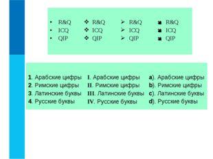 1. Арабские цифры 2. Римские цифры 3. Латинские буквы 4. Русские буквыI. А