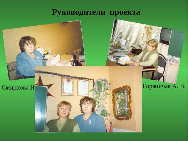 Руководители проекта Смирнова Н. Л. Горяничая А. В.