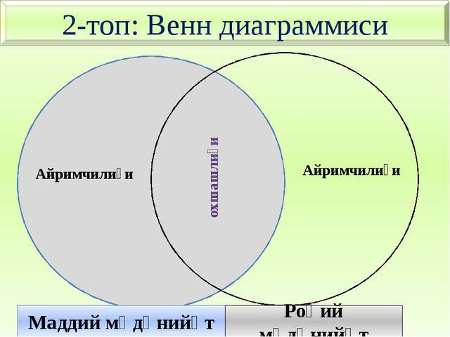 2-топ: Венн диаграммиси Айримчилиғи Маддий мәдәнийәт Роһий мәдәнийәт Айримчи...