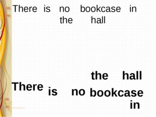 There 	is 	no 	 bookcase 	in 		the 		hall There is no bookcase in the 		hall